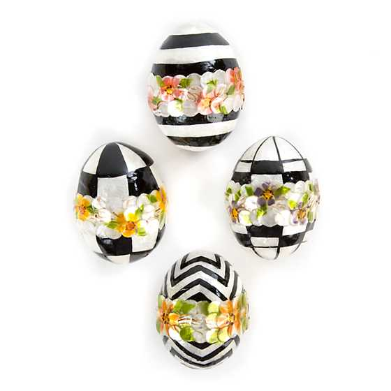 Black & White Floral Eggs - Small - Set of 4