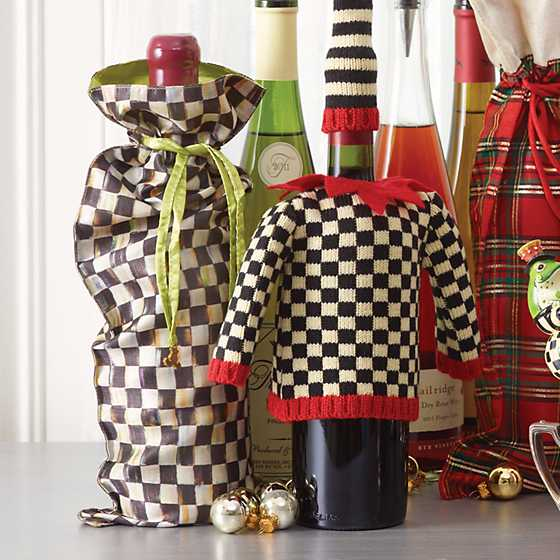 mackenzie childs courtly check wine bag