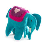 Turquoise Felt Elephant with Heart Toy