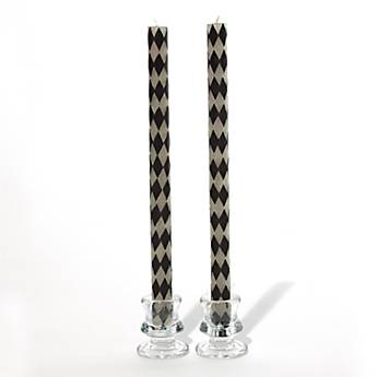 Taper Beeswax Candles - Black & White Harlequin