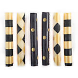 Black & Gold Taper Candles - Set of 6