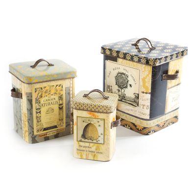 Bee Skep Tin Boxes - Set of 3