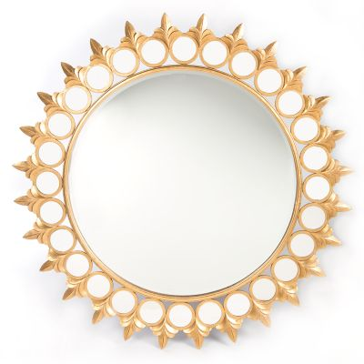 Round Burst Mirror - Gold