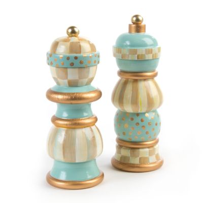 Parchment Check Salt & Pepper Mill Set - 7""