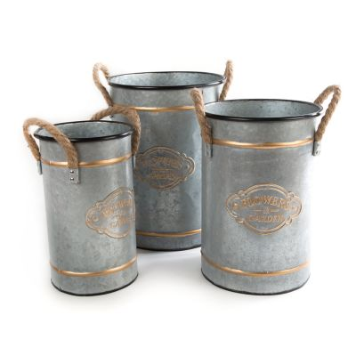 Flower Garden Buckets - Set of 3