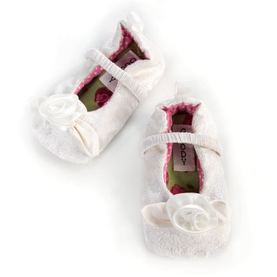Rose White Infant Slippers - 6-12 months