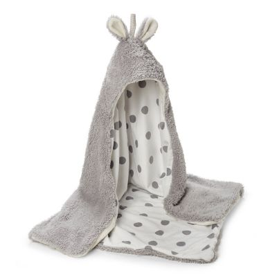 Bunny Hooded Blanket - Grey
