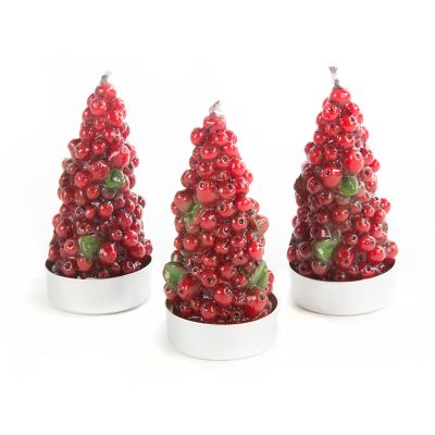 Berry Tree Tea Light Candles - Boxed Set of 3