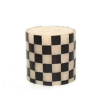 Black & White Check Pillar Candle