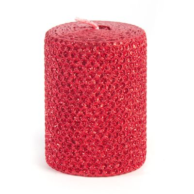 "Glitter 4"" Pillar Candle - Ruby"