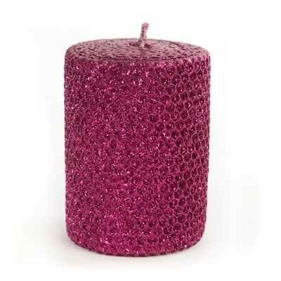 "Glitter 4"" Pillar Candle - Plum"