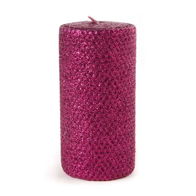 "Glitter 6"" Pillar Candle - Plum"