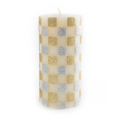 Glittered Check Pillar Candle - Silver/Gold