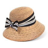 Ella Hat with Striped Ribbon Bow