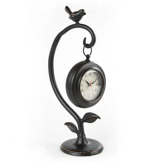 Mackenzie Childs Black Table Clock With Bird