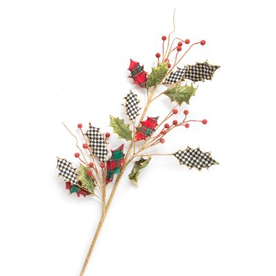 Holly Leaf Stem - Red & Green Tartan