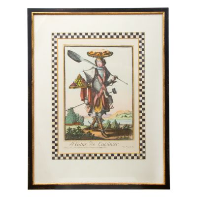 Cuisiniere Print with Courtly Check Border
