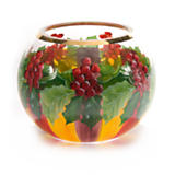 Holly & Berries Glass Globe Vase - Medium