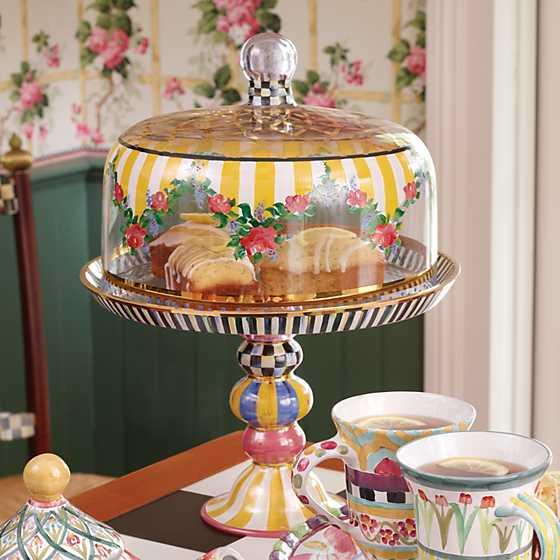 Mackenzie Childs Striped Awning Cake Dome Amp Stand Set