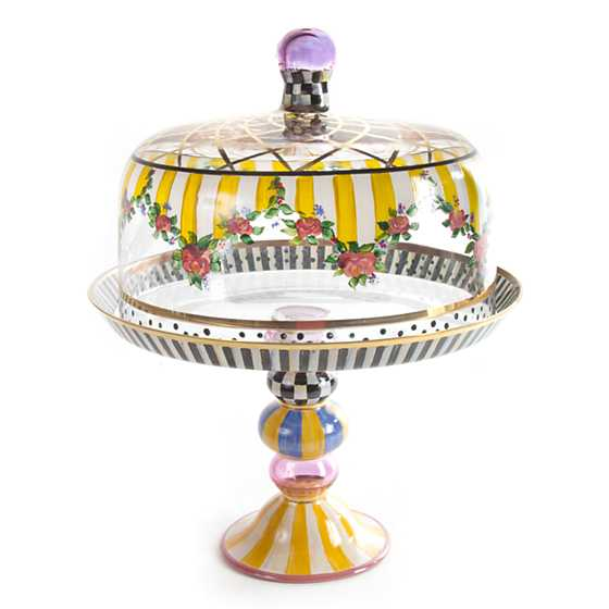 Mackenzie Childs Striped Awning Cake Dome Amp Stand Set