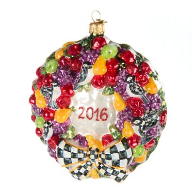 Glass Ornament - 2016 Wreath
