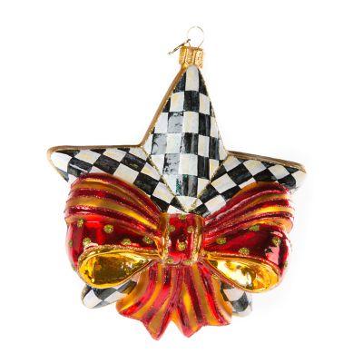 Glass Ornament - Ribboned Star