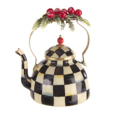 Glass Ornament - Courtly Check Tea Kettle