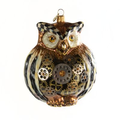 Mackenzie Childs Glass Ornament Wise Owl