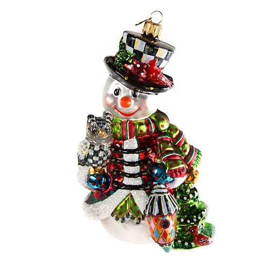 Glass Ornament - Woodland Snowman