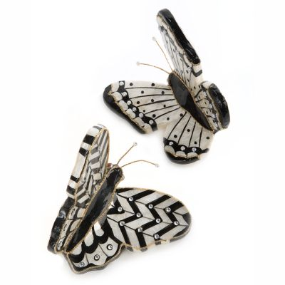 Butterfly Ornaments - Black - Set of 2