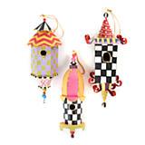 Birdhouse Ornaments - Set of 3