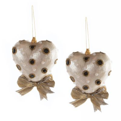 Black & White Heart Ornament - Small - Set of 2