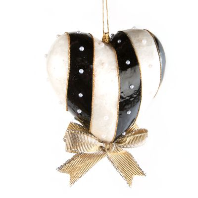 Black & White Heart Ornament - Large