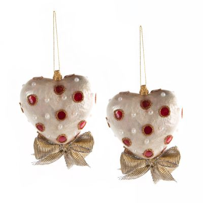 Red & White Heart Ornament - Small - Set of 2
