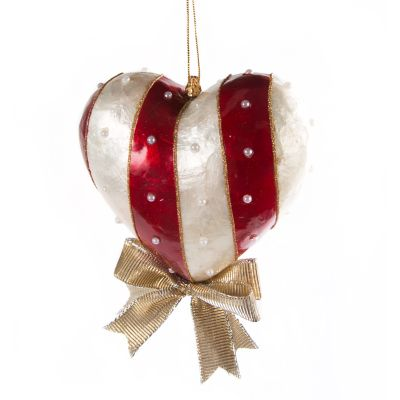Red & White Heart Ornament - Large