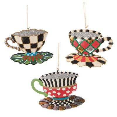 Teacup Ornaments - Set of 3