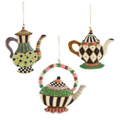 Teapot Ornaments - Set of 3