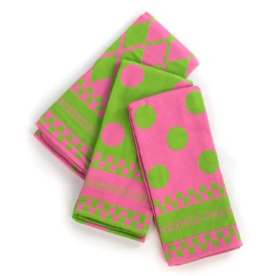 Pink & Green Dot Dish Towels - Set of 3