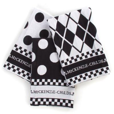 Black & White Dot Dish Towels - Set of 3