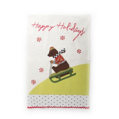 Sledding Bear Dish Towel