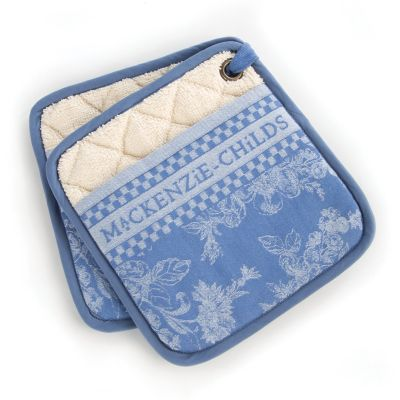 Wild Rose Pot Holders - Blue - Set of 2