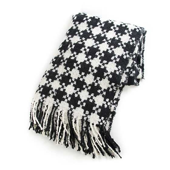Houndstooth Throw - Black & Ivory