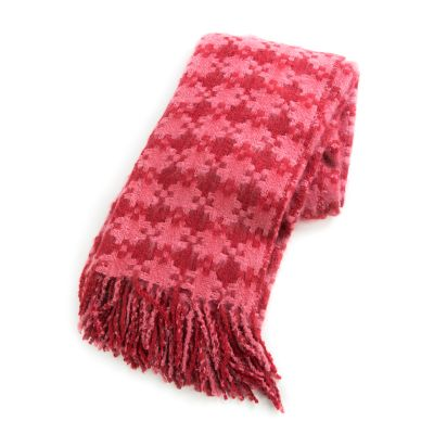 Houndstooth Throw - Rose