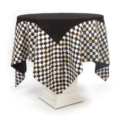 Courtly Check Table Topper - Black