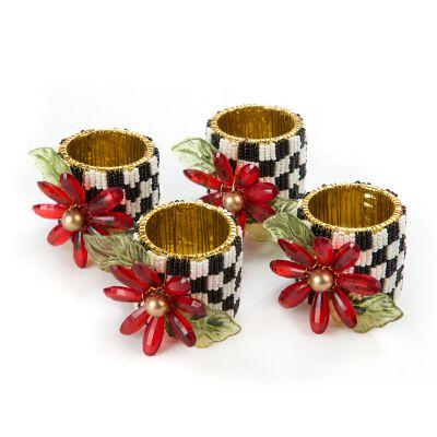 Poinsettia Napkin Rings - Set of 4