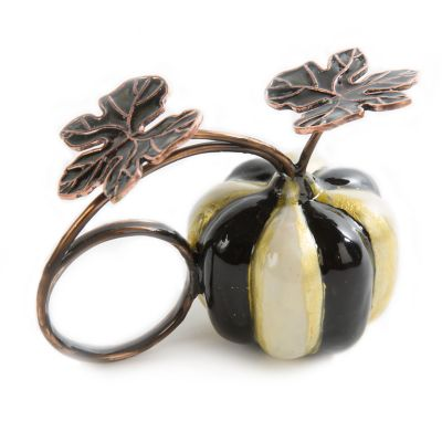 Courtly Stripe Pumpkin Napkin Rings - Set of 4