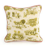 Aurora Toile Small Square Pillow - Green