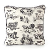 Aurora Toile Small Square Pillow - Black