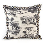 Aurora Toile Large Square Pillow - Black