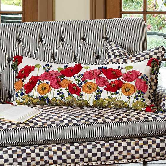 Mackenzie Childs Red Poppy Lumbar Pillow